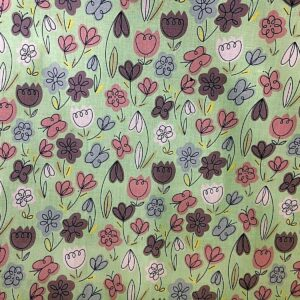 line drawn flowers cotton dress fabric
