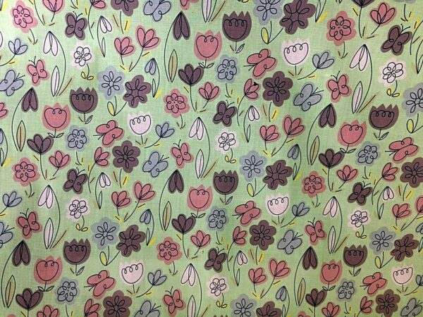 line drawn flowers cotton dress fabric for craft wholesale fabrics and dress making