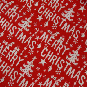 Red merry Christmas cotton dress fabric