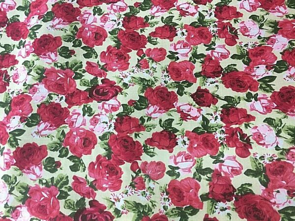 red rose cotton dress fabric