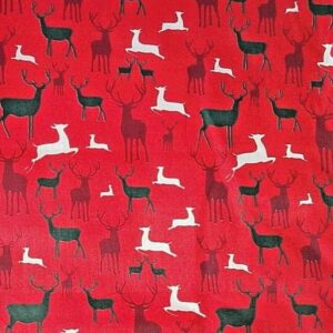 Red Stags Christmas cotton dress fabric