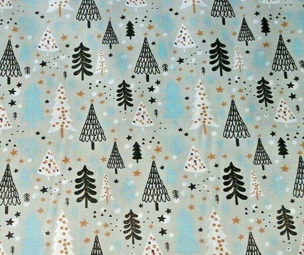 silver tree cotton dress fabric