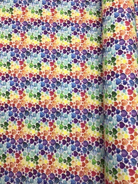 multi coloured heart patterned cotton dress making fabric designer for craft wholesale fabrics