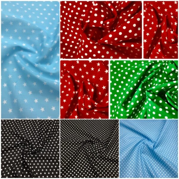 stars and polka dot dressmaking craft fabric