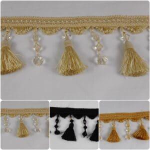 Beaded Tassel Fringe & Decorative Braid Furnishing Trimming